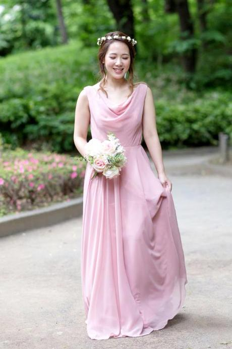 152colors Custom-made Bridesmaid Dress Cowl Neck Chiffon Long Dress