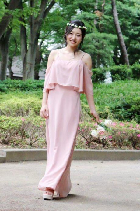 152colors Custom-made Bridesmaid Dress Spaghetti Strap Off-the-shoulder Chiffon Long Dress